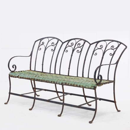 1940s French Wrought Iron and Copper Seated Bench SB068483