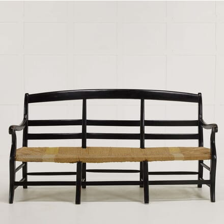 19th Century French Ebonised Rush Seat Sofa SB068474
