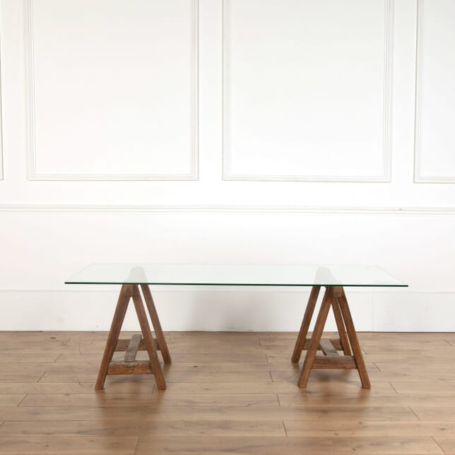 19th Century Pitch Pine Trestle Table CT718910