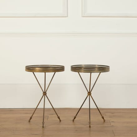 Pair of Brass and Mahogany Tripod Tables CO358683