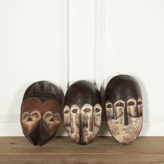 3 Wooden Nigerian Masks WD558680