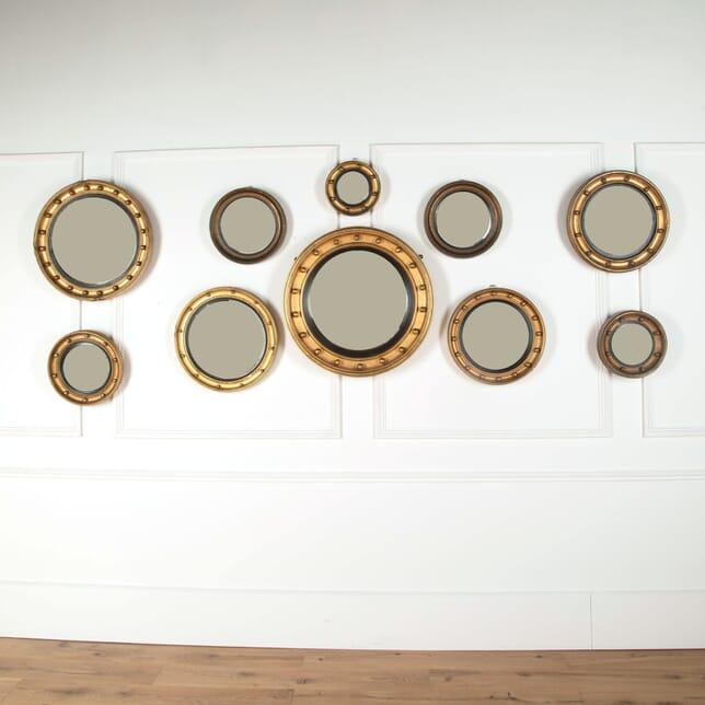 Large Set of English Victorian Gilt Convex Mirrors MI4560948