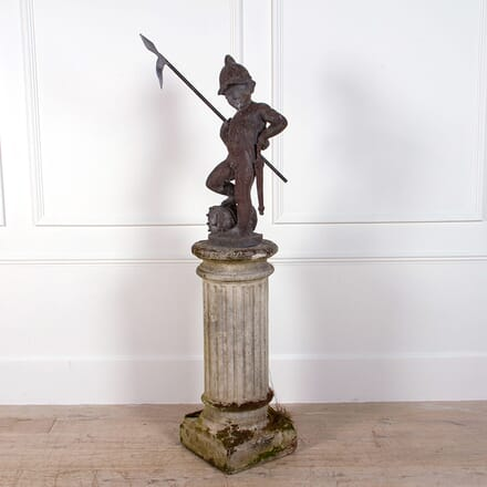 Lead Figure Of A Sentinel On Stone Pedestal GA0961989