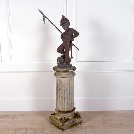 Lead Figure Of A Sentinel On Stone Pedestal GA0961989