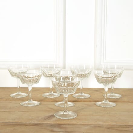 8 Art Deco Val Saint Lambert Crystal Champagne Glasses DA588970