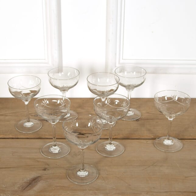 8 Edwardian Swag Cut Glass Tall Stem Champagne Saucers DA588978