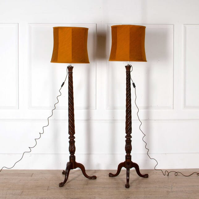 Pair of English Country House Mahogany Floor Lamps OF088228