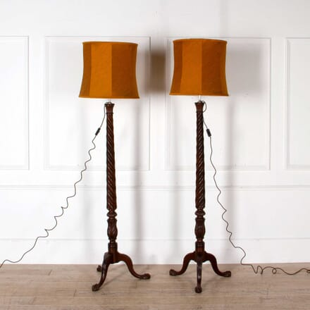 A Pair of English Country House Mahogany Floor Lamps OF088228