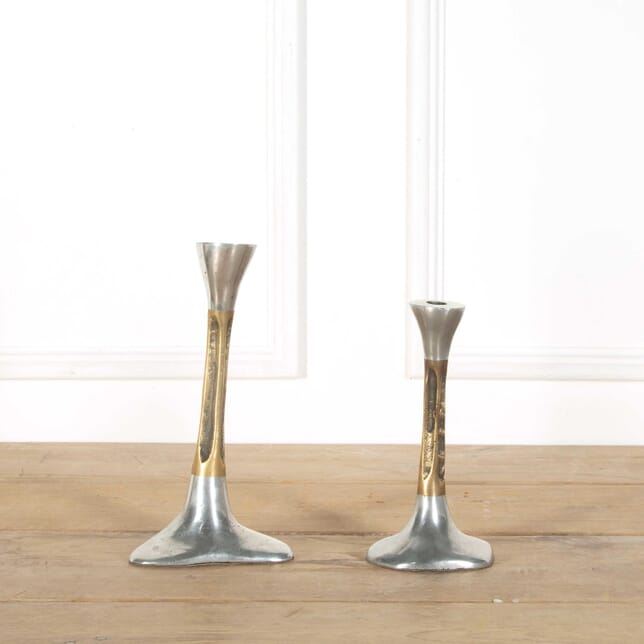 Aluminium and Brass Candlesticks by David Marshall DA408287