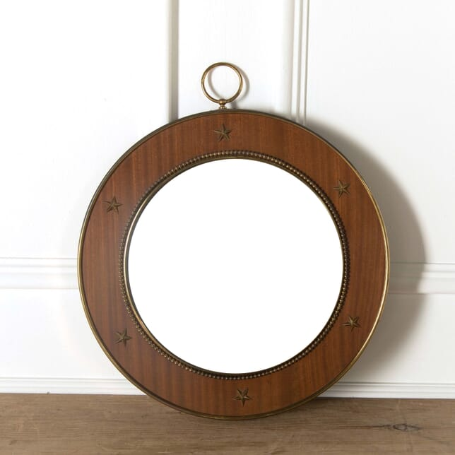 Brass and Mahogany Convex Mirror MI528804