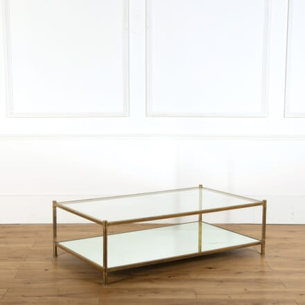 Large Mid Century French Brass and Glass Coffee Table CT358295