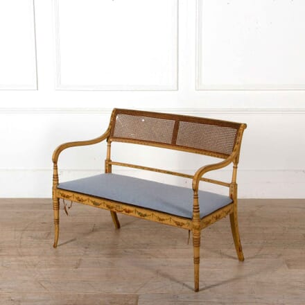 19th Century Caned Canapé Bench SB208223