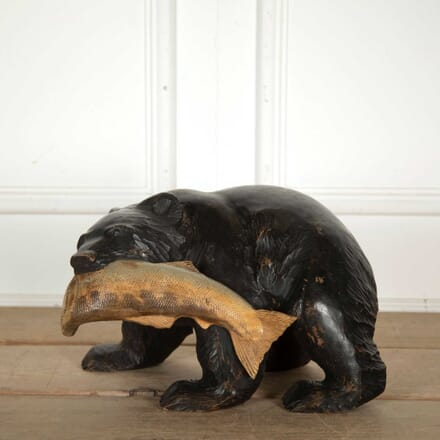 Carved Black Forest Style Bear with Salmon DA138301