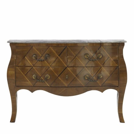 French 18th Century Walnut Bombe Commode with Marble Top CC068045