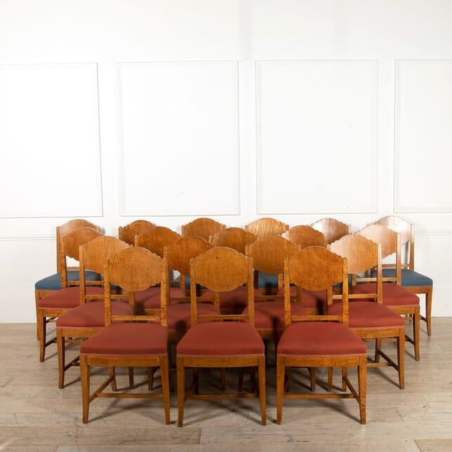 Set of 18 Burr Karelian Birch Dining Chairs CD058416