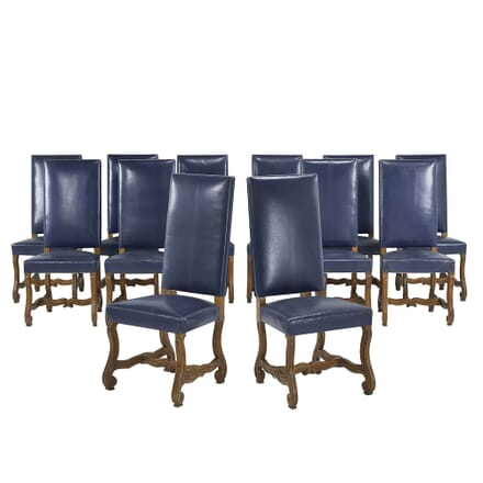 Set of Twelve 1940s French Walnut And Blue Leather Chairs CD067732