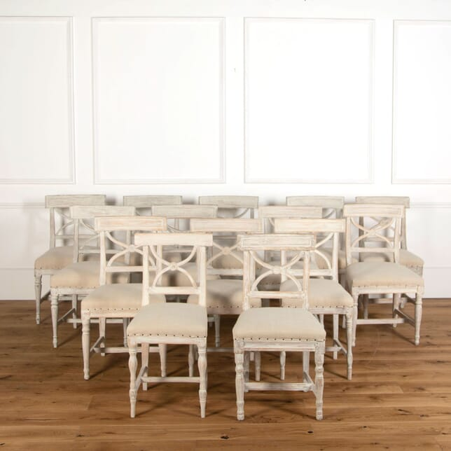 "Set of 14 19th Century Gustavian ""Lundberg"" Dining Chairs CD1260877"