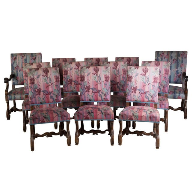 Twelve Carved Walnut Spanish Dining Chairs CD998334
