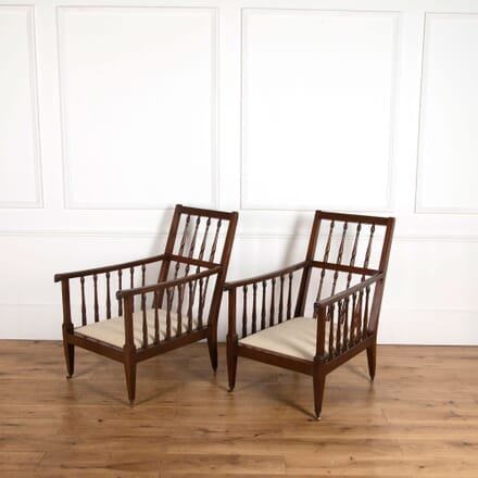 Pair of 19th Century Mahogany Library Chairs CH037773
