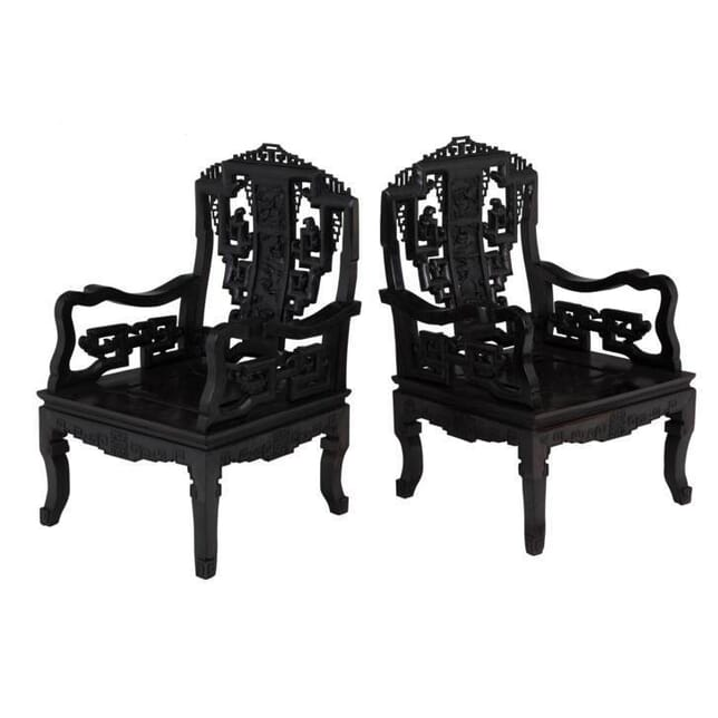 Pair of Chinese Carved and Ebonised Chairs CH0655129