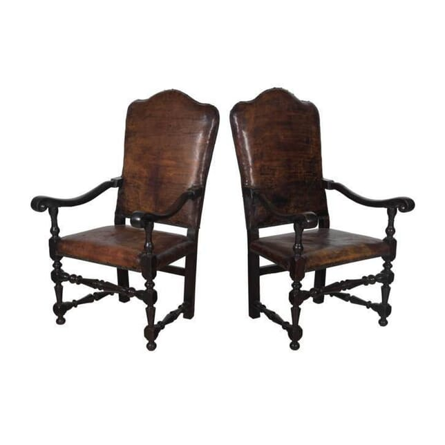 18th Century Italian Leather Armchairs CH0657392