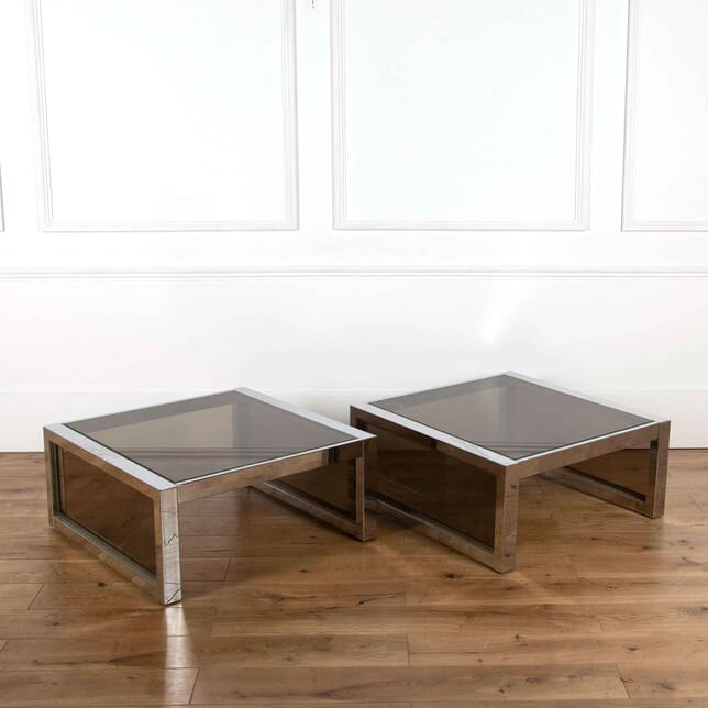 Pair of Chrome and Glass Tables CO5359302