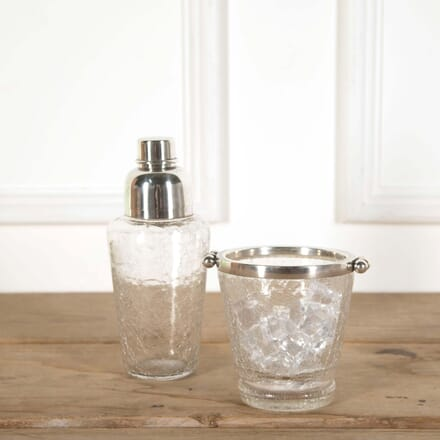 Crackle Glass Cocktail Shaker and Ice Bucket Set DA588629