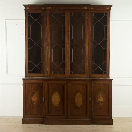 English 19th Century Mahogany and Inlaid Breakfront Library Bookcase BK889703