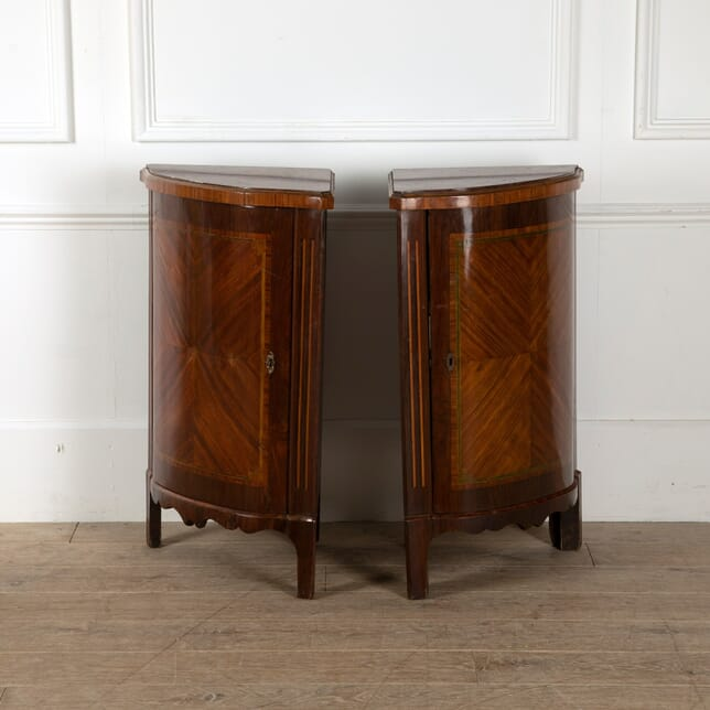 Pair of French Directoire Corner Cabinets with Mirrored Interiors and Marble Tops CO8812218