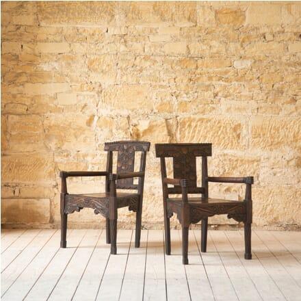Pair of Folk Art Carved Oak Chairs CH419729
