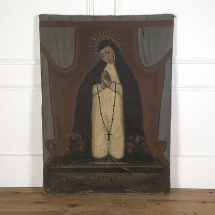 18th Century Oil On Canvas of Kneeling Madonna WD7512618