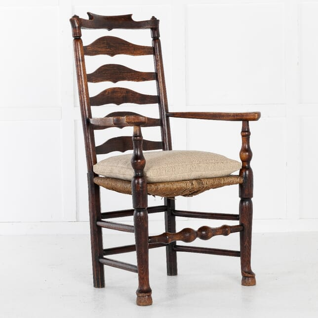 18th Century English Elm Ladder-Back Carver Chair CH0611347