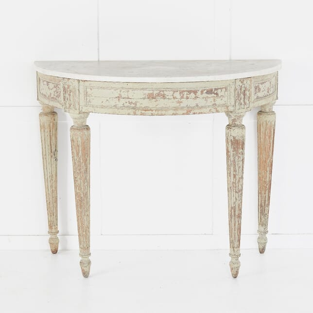 18th Century French Marble Top Demi Lune Console CO0610376