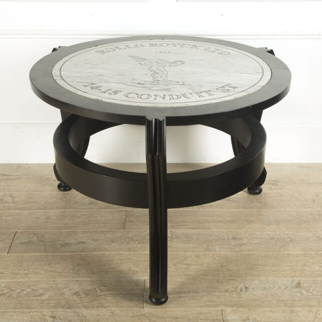 1929 Rolls Royce Marble Plaque in Ebonised Centre Table TC0310158