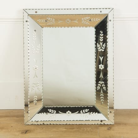 1930s Venetian Etched Glass Large Mirror MI589624