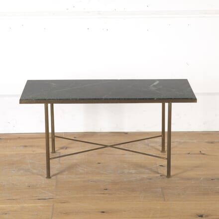 Mid Century Brass Occasional Table with Green Marble Top TC5715062