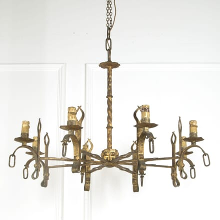 1960s Spanish Gilt Iron Chandelier LC019387