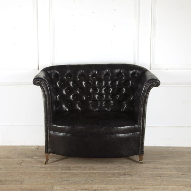 19th Century Black Leather Upholstered Sofa SB8812386