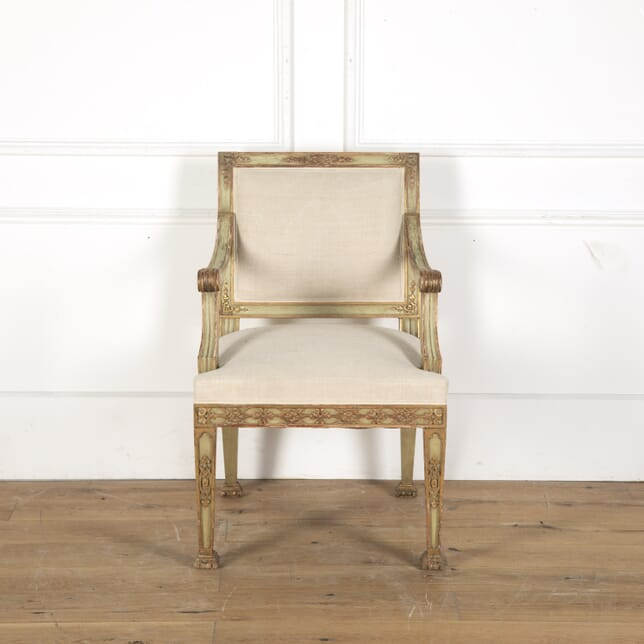 19th Century Italian Painted and Gilt Armchair CH9012938
