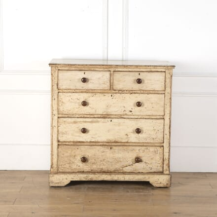19th Century Pine Chest of Drawers with Original Paint CC9012776