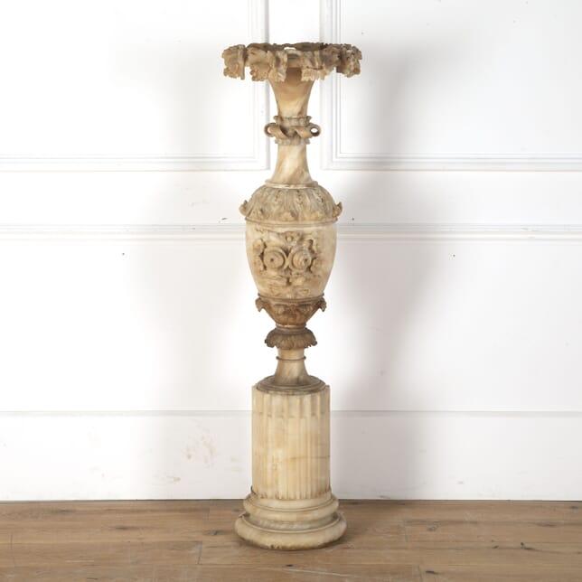 19th Century Carved Alabaster Vase Urn DA0313171
