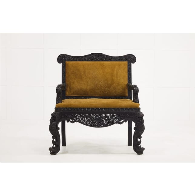 19th Century Carved Hardwood Anglo Indian Sofa in Suede SB069901