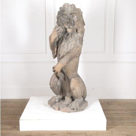 19th Century Sejant-Rampant Lion Statue GA0916131