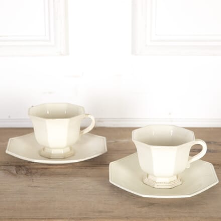 19th Century Creamware Chocolate Cups and Saucers DA9013684