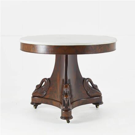 19th Century French Mahogany Marble Top Table TC069463