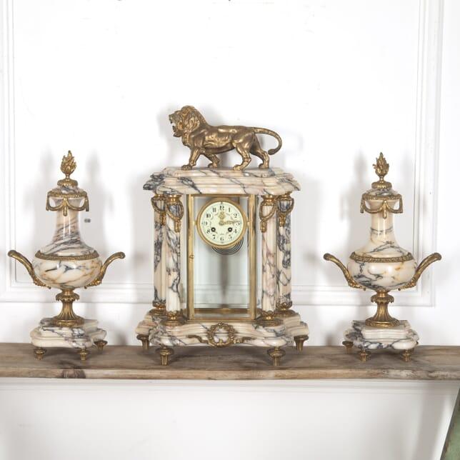 French 19th Century Marble and Ormolu Clock Set DA8815125
