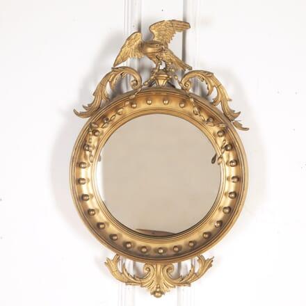 19th Century Gilt Convex Mirror with Eagle Crest MI8215041