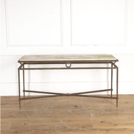 19th Century Iron, Travertine and Marble Console Table CO8213808