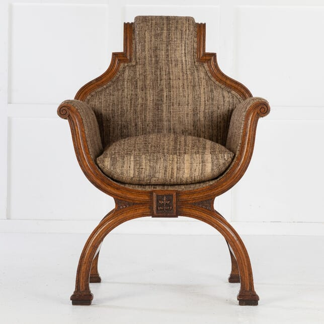 19th Century Oak x-Frame Armchair CH0614436