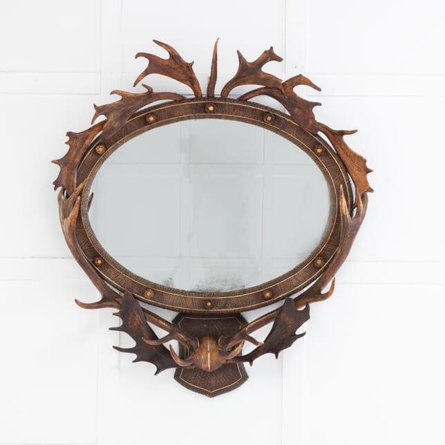 French 19th Century Oval Antler Mirror MI0616377